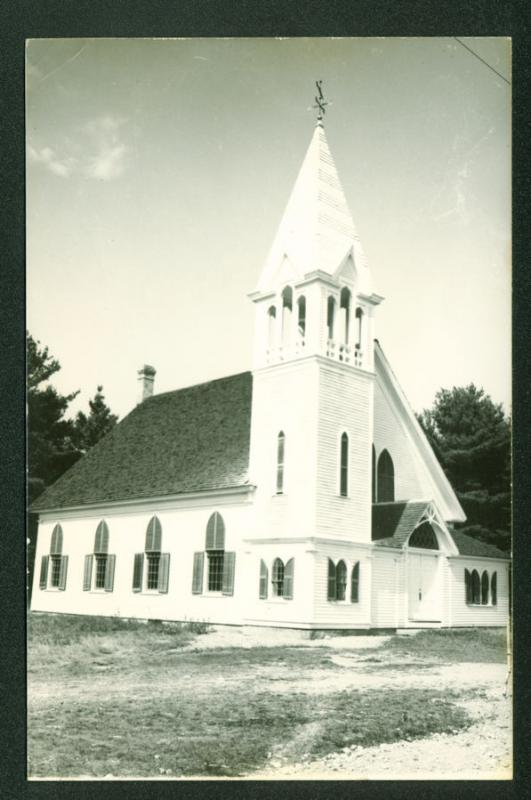 Bunker Hill Old Church Jefferson MAINE Scene RPPC Real Photo Postcard