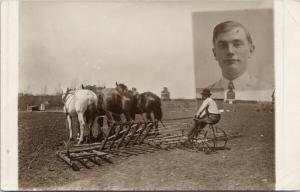 Farmer Plowing Land Horses Farming Elevators Portrait RPPC Postcard E49 *As Is