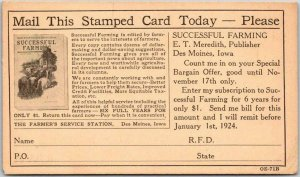 1923 Mail Order Advertising Postcard SUCCESSFUL FARMING MAGAZINE Subscription Ad
