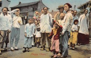 Happy China Chinese Natives Village Antique Postcard K99305
