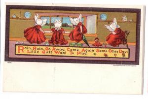 Sunbonnet Girls Ullman Nursery Rhyme Rain Rain Postcard UDB
