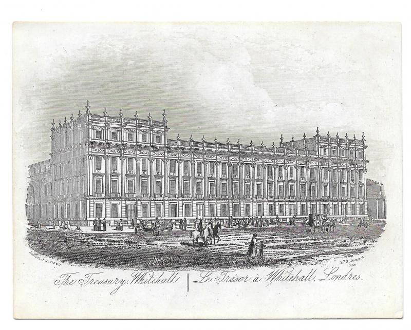 The Treasury Whitehall 1851 Steel LIne Engraving Views of London J T Wood Print