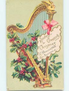 Pre-1907 christmas LARGE HARP WITH HOLLY AND PINK RIBBON - MUSIC ho3984