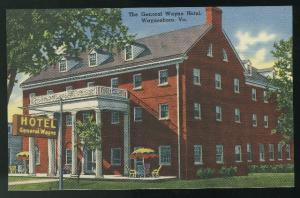 VA General Wayne Hotel Waynesboro Virginia Vintage Tichnor Linen Postcard