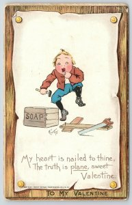 E Curtis Valentine~Carpenter Boy Comic Tool Pun~Heart Nail to Thine~Plane Truth
