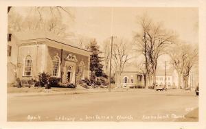 Kennebunk Maine~Bank~Library~Unitarian Church~1930 Cars~Real Photo Postcard~RPPC