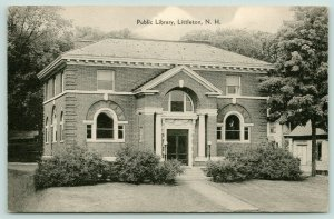 Littleton New Hampshire~Public Library~Shrubs in Front~House Beside~1940s B&W