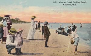 Wisconsin Kenosha View At North Bathing Beach 1914