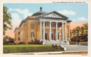 D92/ Americus Georgia Ga Postcard Linen First Methodist Church Building