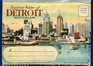 Detroit Michigan mi Water Front by day and night Scott Fountain  postcard folder