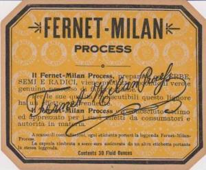 ADV Fernet-Milan Process, Wine Bottle Label, Contents 30 Ounces, Fernet-Milan...