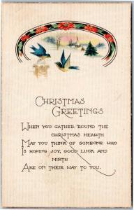 Christmas Greetings - gather around hearth - Blue birds