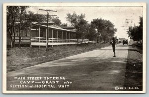 Camp Grant IlL~Soldier on Guard Silhouette~Main Street~Hospital Unit~1917 WWI PC