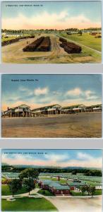 3 Postcards  MACON, Georgia  GA   CAMP WHEELER Truck Pool, Hospitals  c1940s