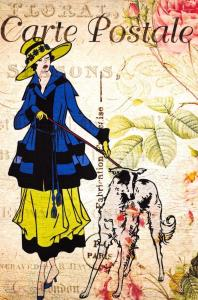 Postcard French Vintage Shabby Chic Style, Fashion Coat Hat Lady Walking Dog 60J