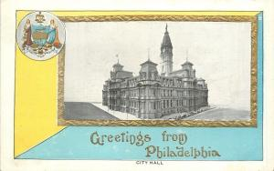 Philadelphia~City Hall in Blue Yellow Gold Frame~City Seal~Embossed~TR Co 1910