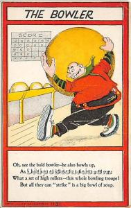 Old Vintage Bowling Postcard Post Card The Bowler Unused