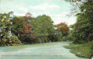 York Pennsylvania~Codorous Creek Swinging Bridge~1910 Postcard