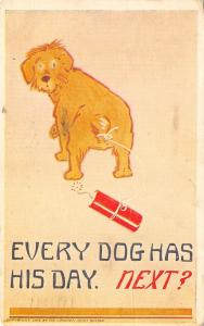 Boston Proverbs~Every Dog Has His Day~Firecracker Tied to Puppy Tail~Next? 1910