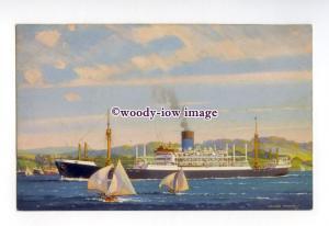 pf8559 - Blue Funnel Cargo Ship - Patroclus - postcard artist Walter Thomas