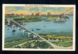Buffalo, New York/NY Postcard, Peace Bridge Between US & Canada, 1934!