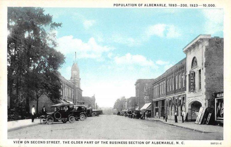 Albemarle North Carolina Second Street Alameda Theatre Vintage Postcard JI658390