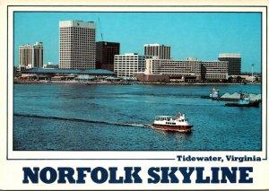 Virginia Norfolk Skyline With Elizabeth River Ferry