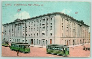 New Orleans Louisiana~Custom House~Green Trolleys~Open Door~c1912 Acmegraph PC