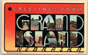 GRAND ISLAND Nebraska Large Letter Postcard Curteich Linen c1940s Unused