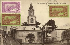 guadeloupe, BASSE-TERRE, Le Clocher, Church with Street Scene (1910s) Stamps