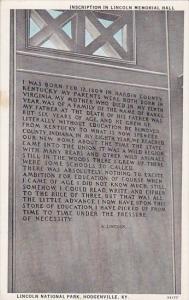 Inscription In Lincoln Memorial Hall Lincoln National Park Hodgenville Kentucky