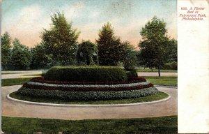 Postcard PA Pennsylvania Philadelphia Flower Bed at Fairmount Park Unposted