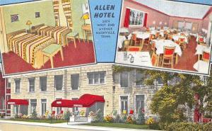 Nashville TN Allen Hotel Multi-View Linen Postcard