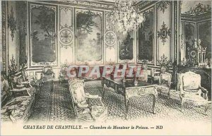Old Postcard Chateau de Chantilly Chamber of the prince