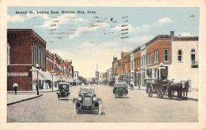 Webster City Iowa Second Street Looking East Antique Postcard K103281