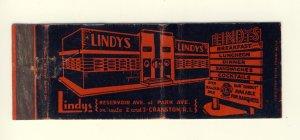 Lindys Restaurant Match Cover/Matchbook, Cranston, Rhode Island/RI, 1950's