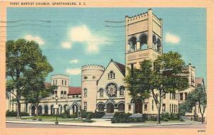 Spartanburg South Carolina~First Baptist Church~1948 Linen Postcard