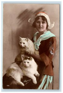 RPPC Woman with Beautiful Cats in a Dutch Style Bonnet Hat Regina Hand Colored