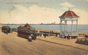 Hampton Beach New Hampshire~Trolleys Stop at Casino~Gazebo on Beach~1913 PC