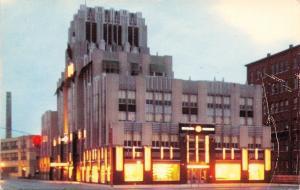Syracuse New York~Syracuse Lighting Company Office Building~Night Lights~1955 PC