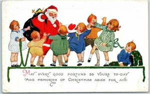 1910s SANTA CLAUS Christmas Postcard May Every Good Fortune Be Yours UNUSED