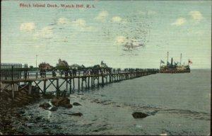 Watch Hill RI Block Island Dock c1910 Postcard
