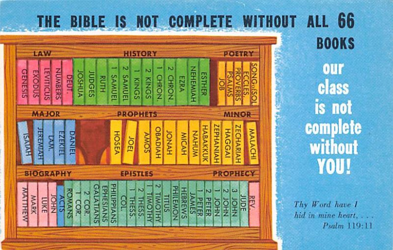 Religious Postcard The Bible is not complete without all  66 books. Our class...