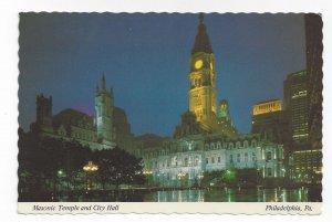 Philadelphia PA City Hall Masonic Temple Night Mike Roberts c 1970s Postcard 4X6