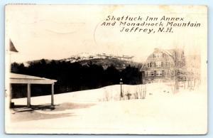 Postcard NH Jaffrey Shattuck Inn Annex Monadmock Mountain RPPC Real Photo L14