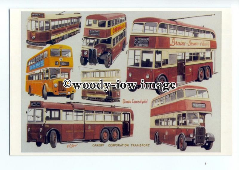 tm6106 - Cardiff Corp.Transport Tram & Trolley Bus Artist - G.S.Cooper- postcard