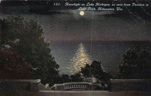 MILWAUKEE, Wisconsin, PU-1911; Moonlight On Lake Michigan, Pavilion In Lake Park