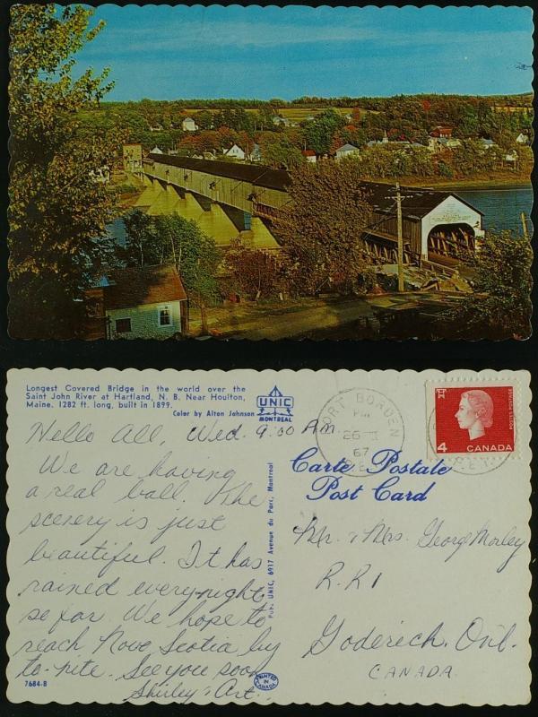 Covered Bridge Hartland NB, Port Borden PEI pmk 1967