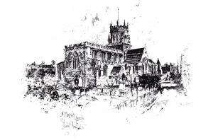 Postcard Art Sketch St. Mary's Church, Stafford by Herbert Railton 86B