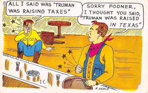 Texas~Political Comic~Bar Fight~Truman Raised Taxes~Thought Truman Born in TX